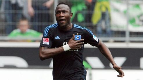 0:1 Jubel Torschuetze Jacques Zoua (HSV) Fussball Bundesliga, Borussia Moenchengladbach - Hamburger SV