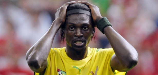 Emmanuel Adebayor - togo - 13.06.2006 -Coupe du monde 2006 - cm 2006 - foot football - hauteur attitude deception -02131746